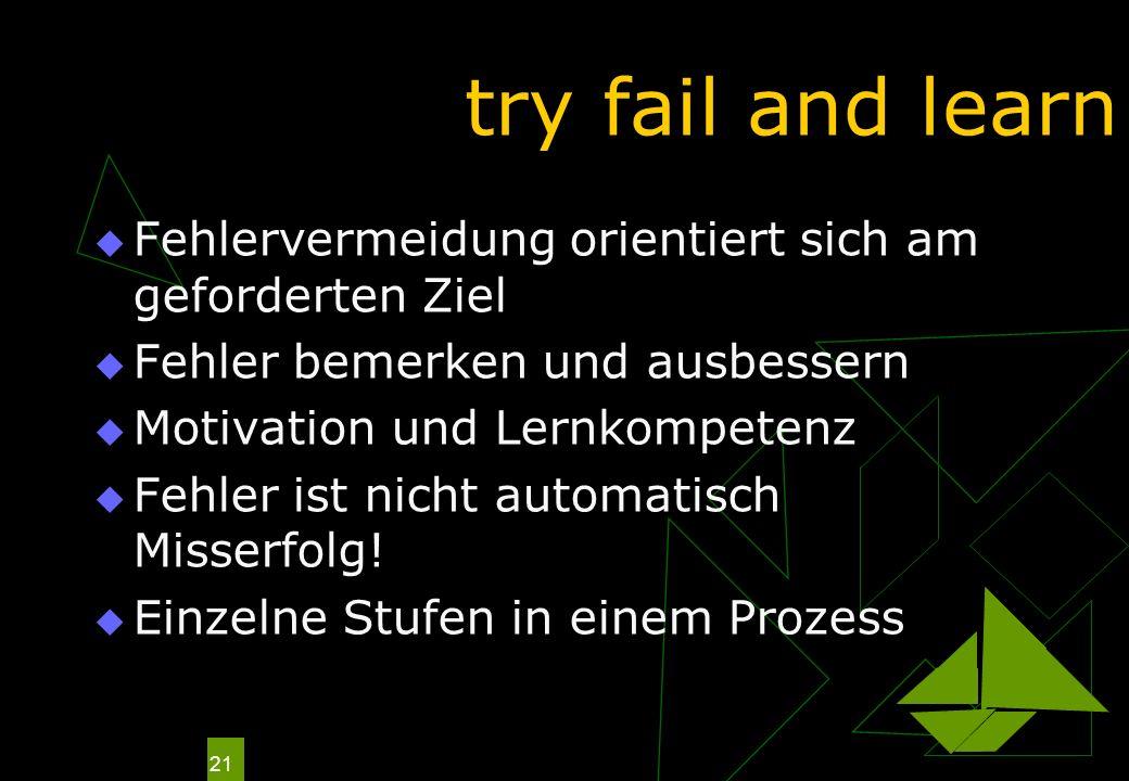 try fail and learn Fehlervermeidung orientiert sich am geforderten Ziel. Fehler bemerken und ausbessern.