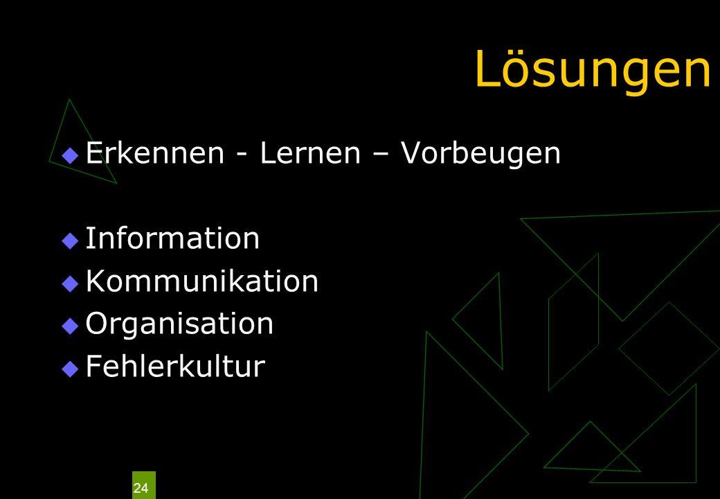 Lösungen Erkennen - Lernen – Vorbeugen Information Kommunikation