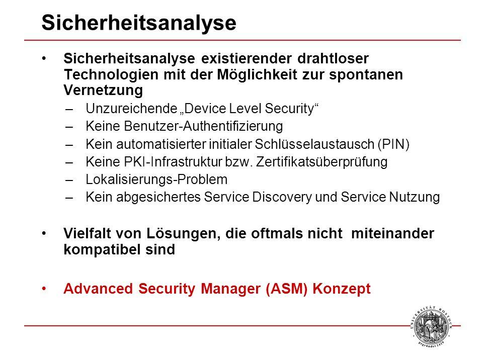 Sicherheitsanalyse Sicherheitsanalyse existierender drahtloser Technologien mit der Möglichkeit zur spontanen Vernetzung.