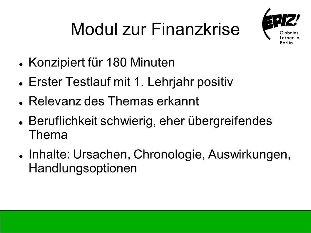 Modul zur Finanzkrise Konzipiert für 180 Minuten