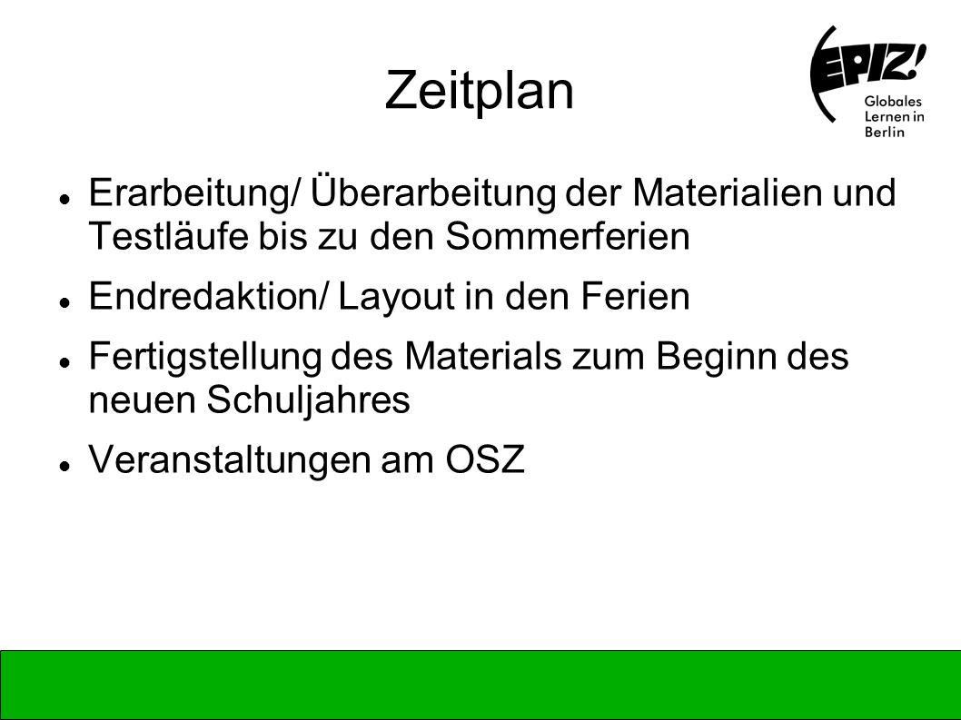 Zeitplan Erarbeitung/ Überarbeitung der Materialien und Testläufe bis zu den Sommerferien. Endredaktion/ Layout in den Ferien.