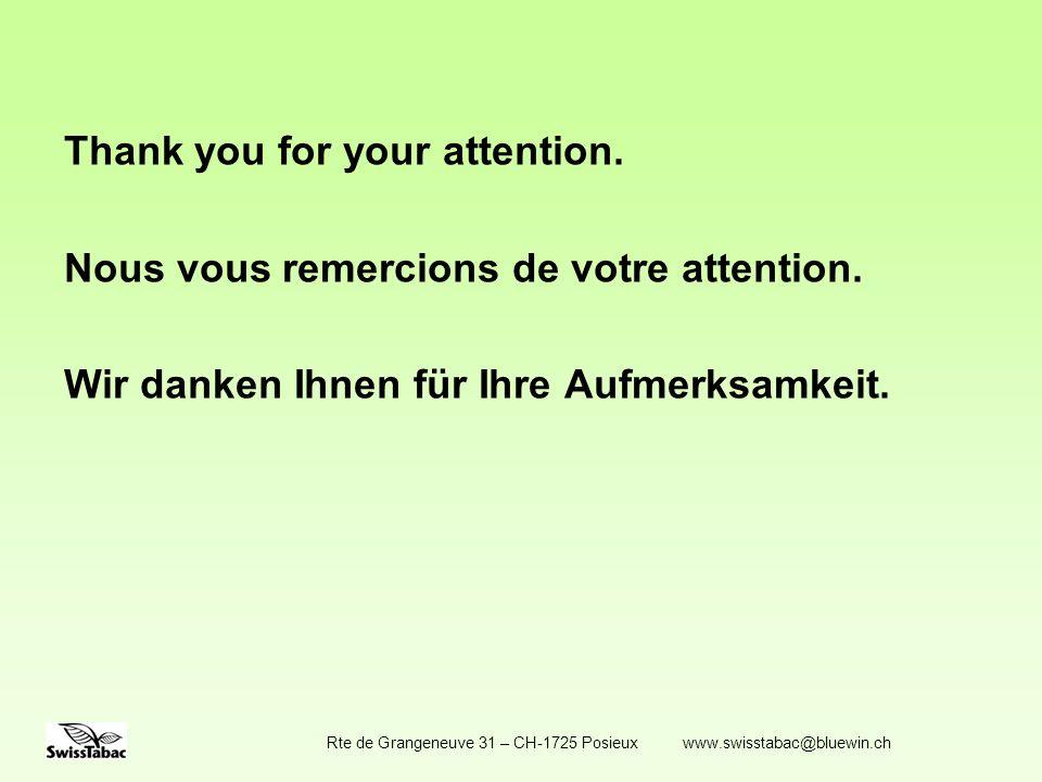 Thank you for your attention. Nous vous remercions de votre attention.