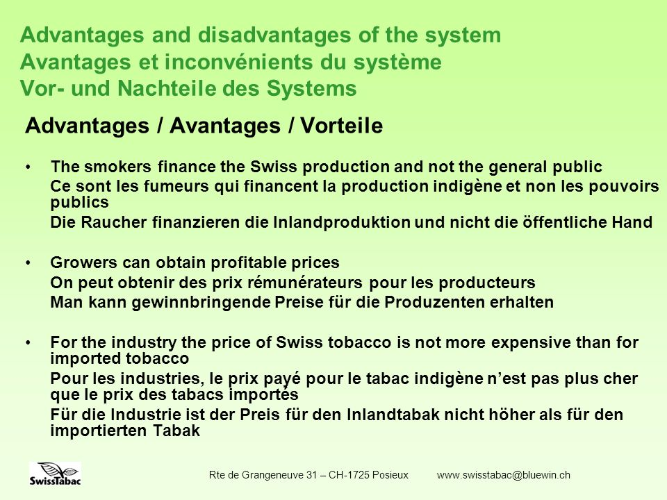Advantages / Avantages / Vorteile