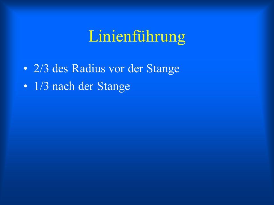 Linienführung 2/3 des Radius vor der Stange 1/3 nach der Stange
