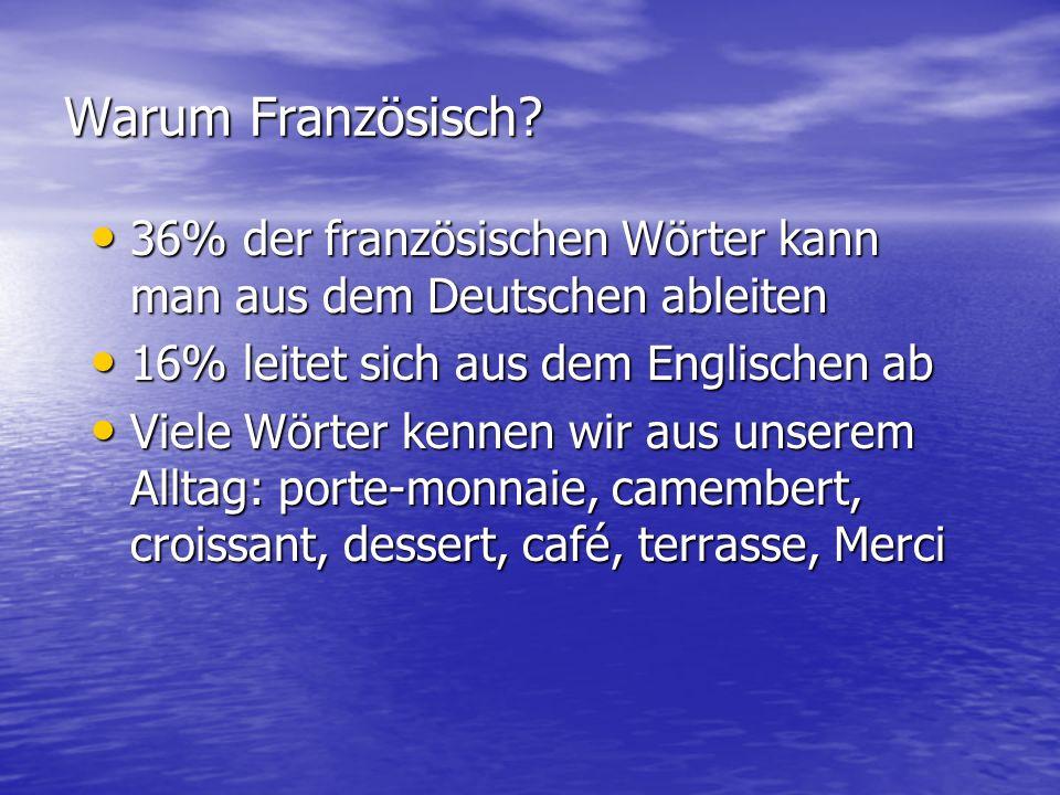 Warum Französisch 36% der französischen Wörter kann man aus dem Deutschen ableiten. 16% leitet sich aus dem Englischen ab.