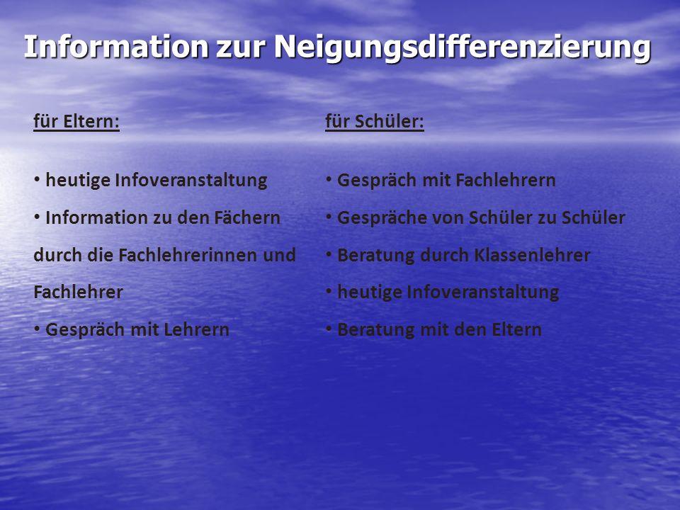 Information zur Neigungsdifferenzierung