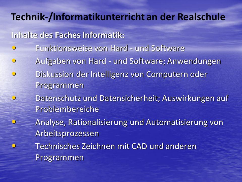 Technik-/Informatikunterricht an der Realschule