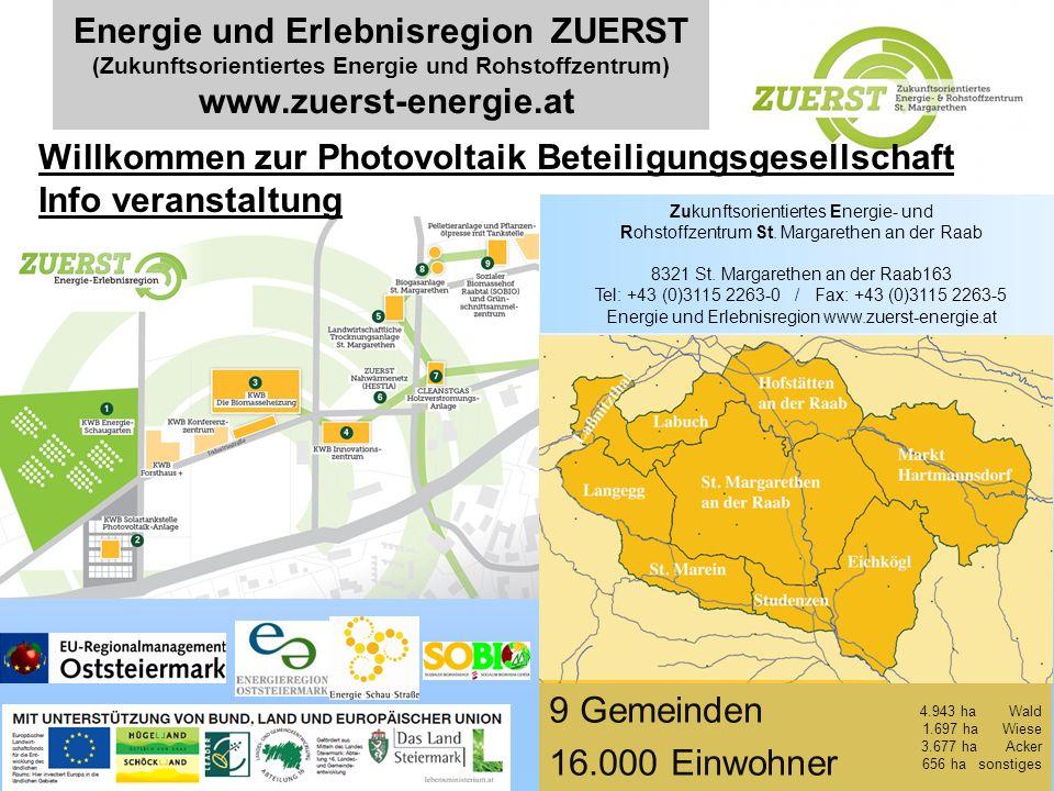 Energie und Erlebnisregion ZUERST (Zukunftsorientiertes Energie und Rohstoffzentrum) www.zuerst-energie.at