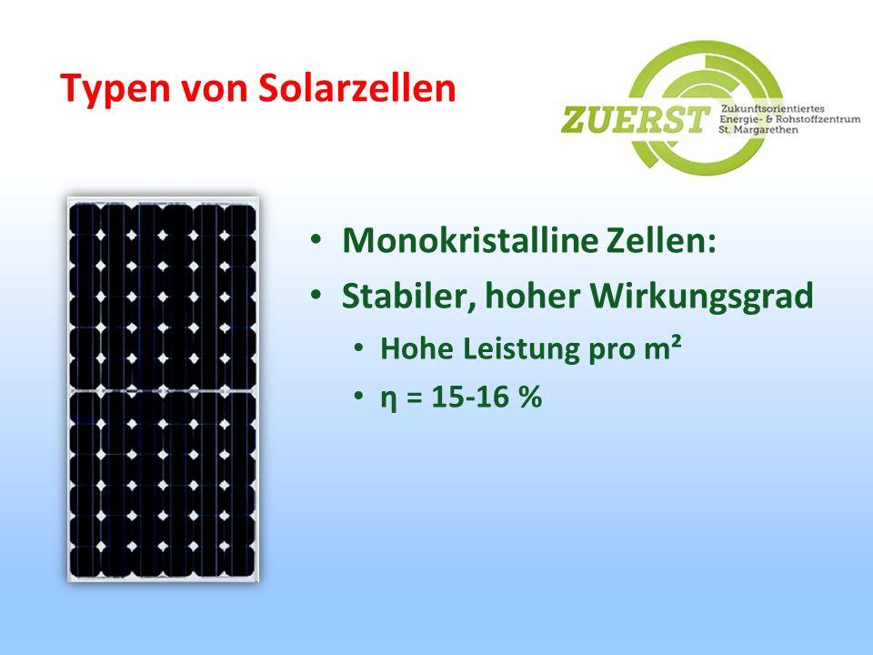 Typen von Solarzellen Monokristalline Zellen: