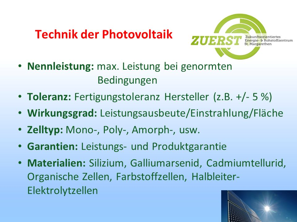 Technik der Photovoltaik