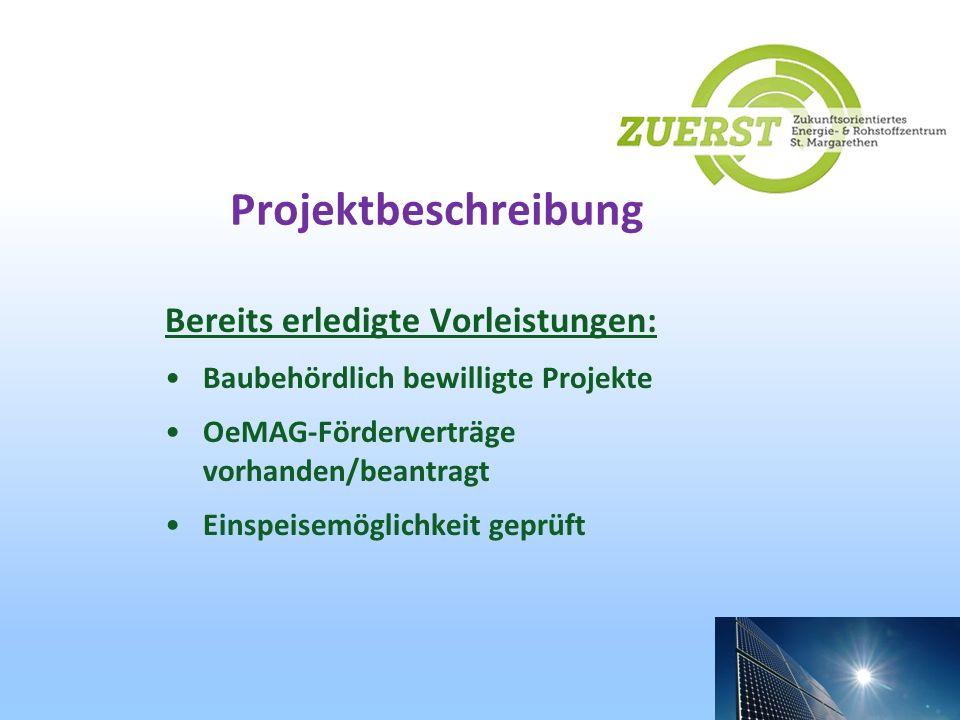Projektbeschreibung Bereits erledigte Vorleistungen: