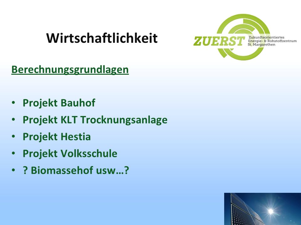 Wirtschaftlichkeit Berechnungsgrundlagen Projekt Bauhof