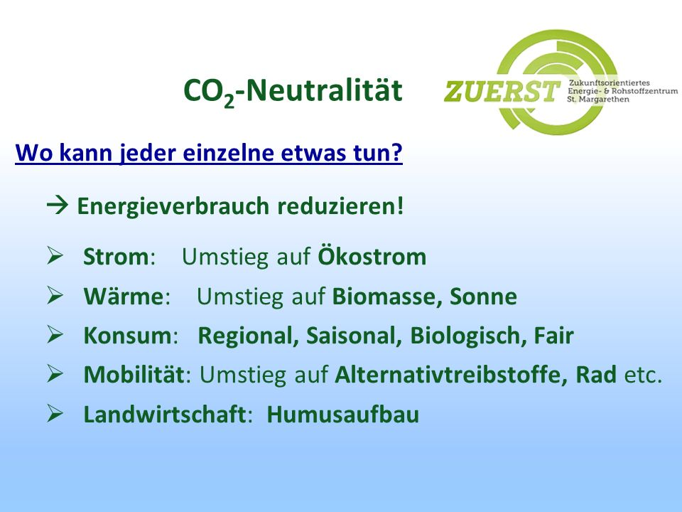CO2-Neutralität Wo kann jeder einzelne etwas tun