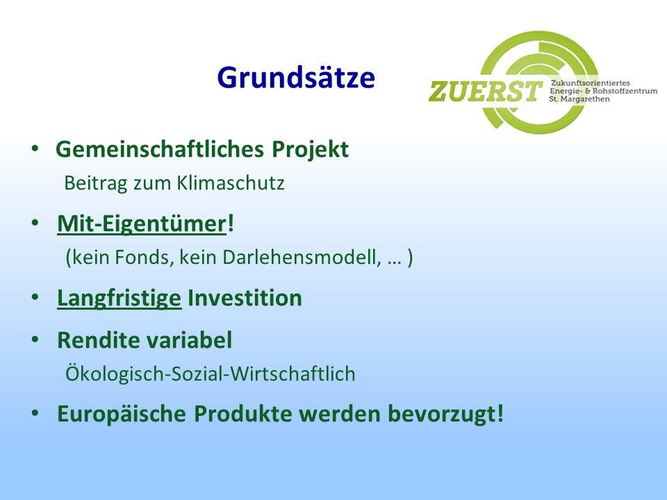 Grundsätze Gemeinschaftliches Projekt Mit-Eigentümer!