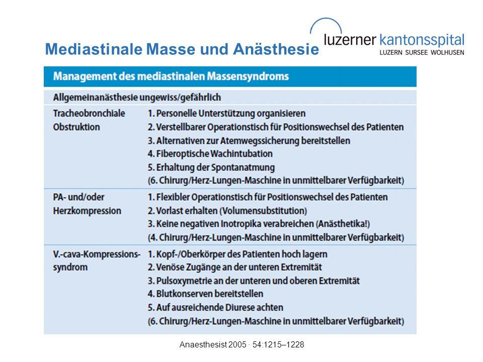 Mediastinale Masse und Anästhesie