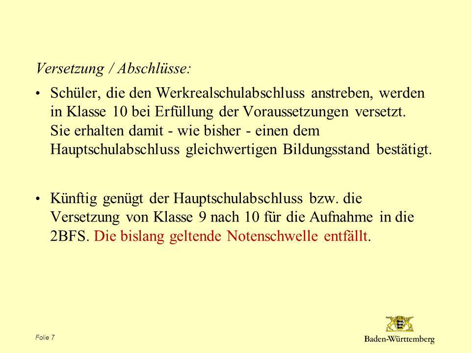 Versetzung / Abschlüsse: