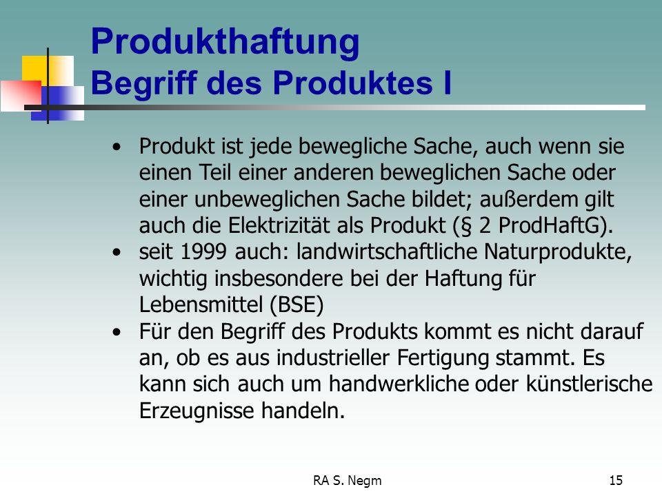 Produkthaftung Begriff des Produktes I