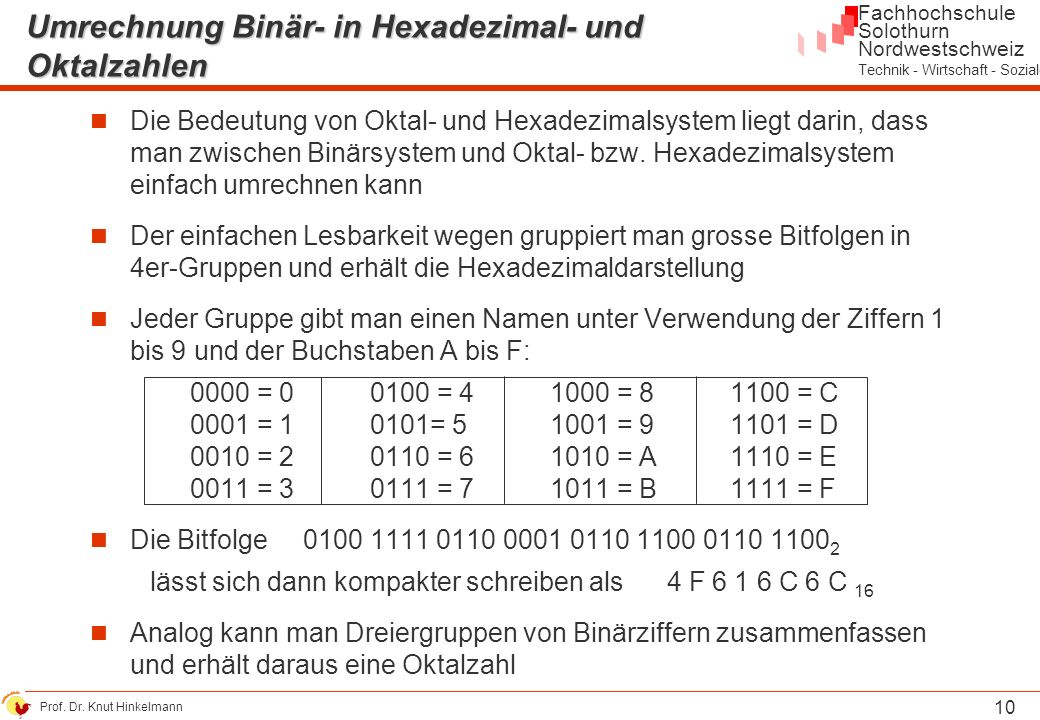 Umrechnung Binär- in Hexadezimal- und Oktalzahlen