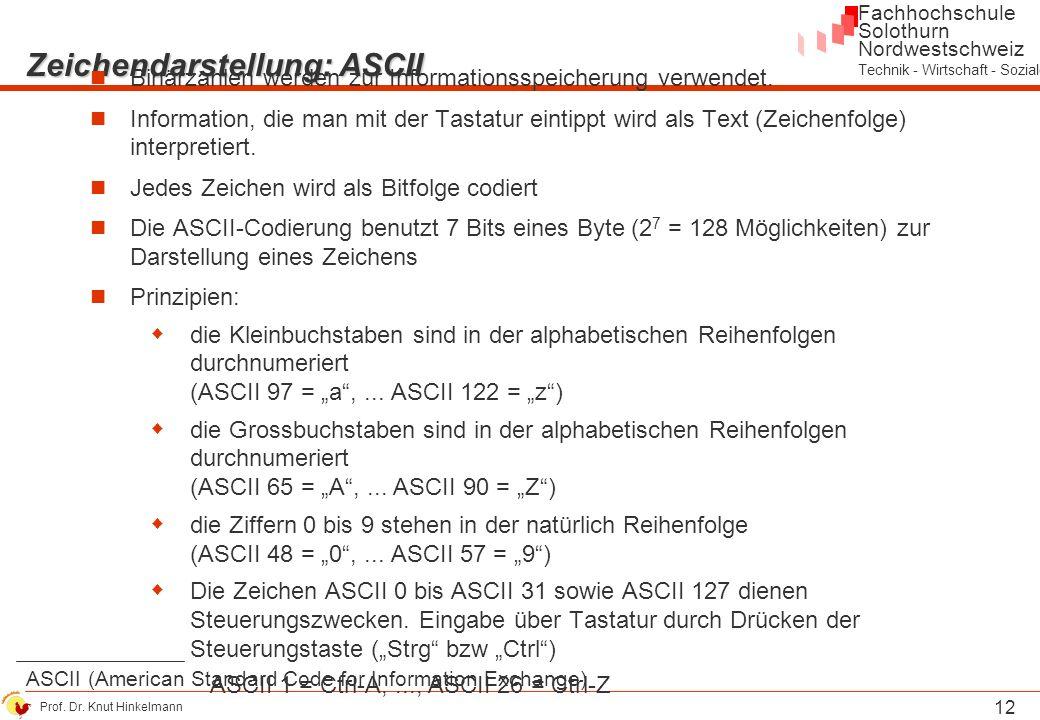 Zeichendarstellung: ASCII