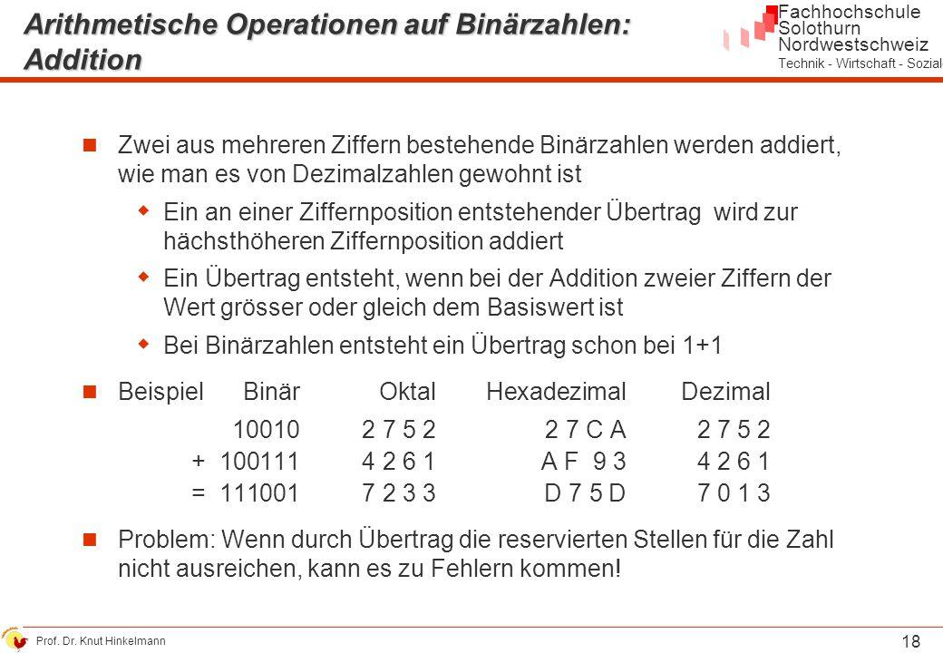 Arithmetische Operationen auf Binärzahlen: Addition
