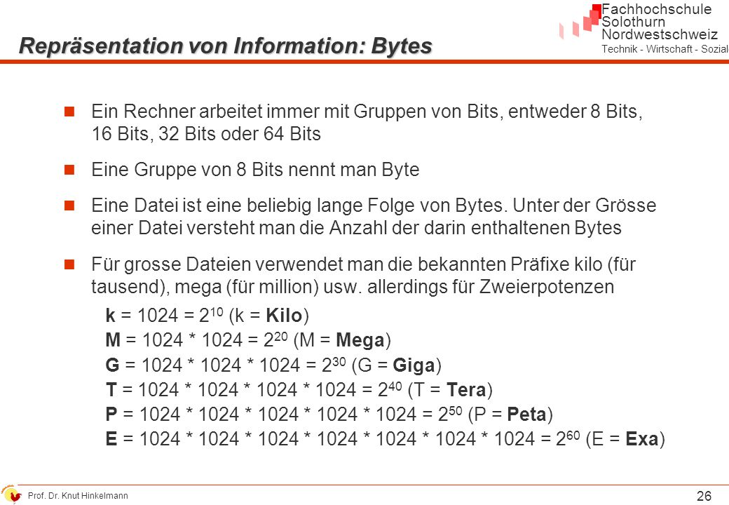 Repräsentation von Information: Bytes