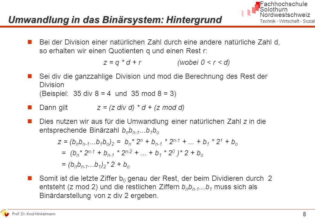 Umwandlung in das Binärsystem: Hintergrund