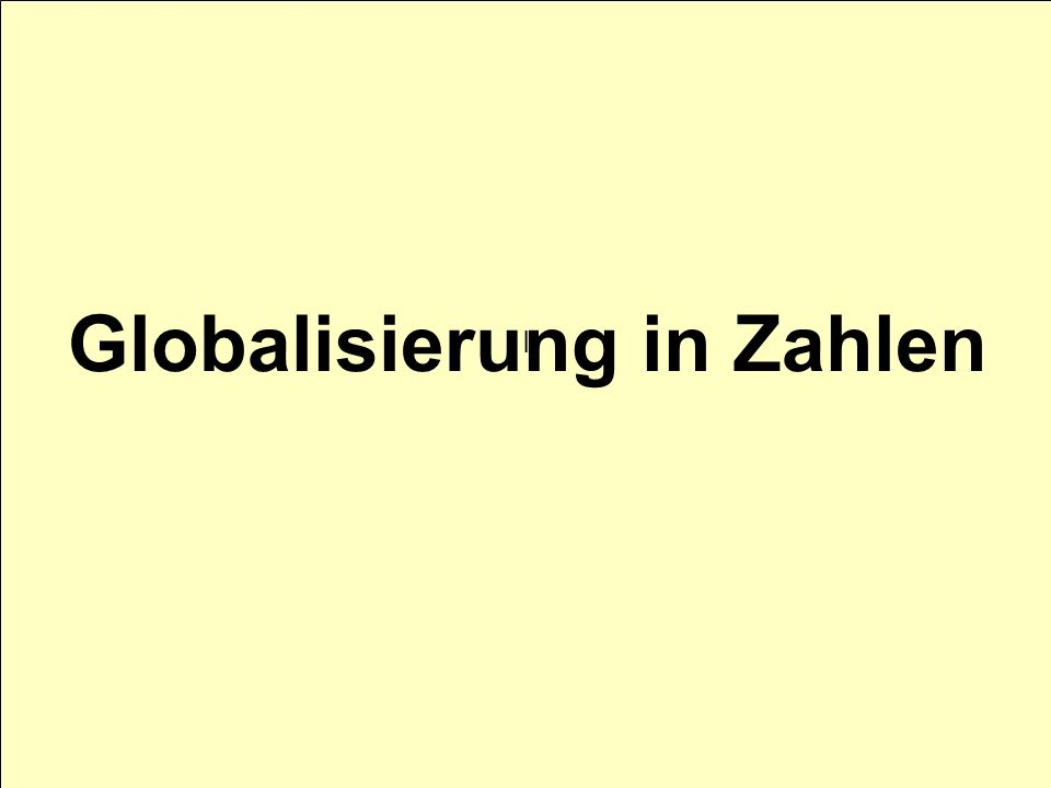 Globalisierung in Zahlen