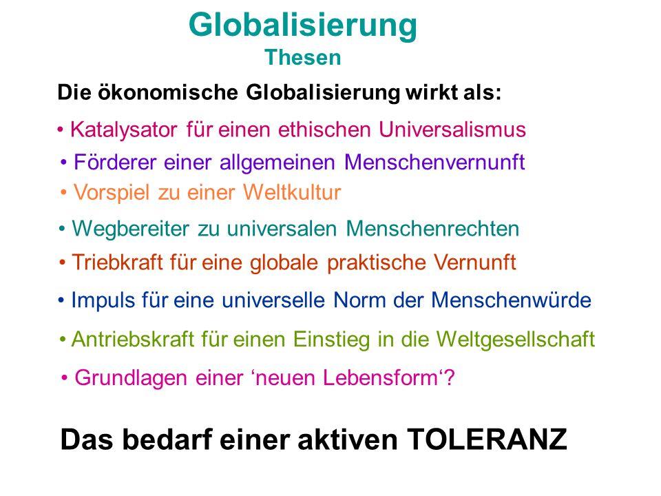Globalisierung Das bedarf einer aktiven TOLERANZ Thesen