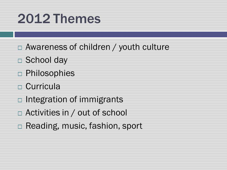 2012 Themes Awareness of children / youth culture School day