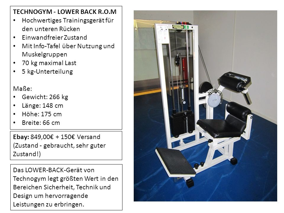TECHNOGYM - LOWER BACK R.O.M