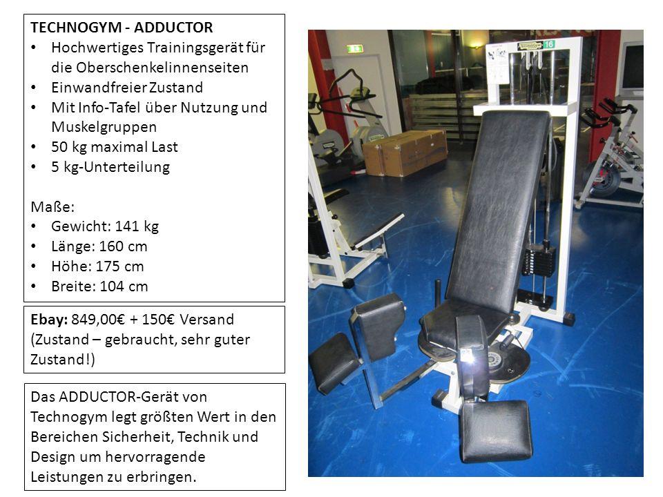 TECHNOGYM - ADDUCTOR Hochwertiges Trainingsgerät für die Oberschenkelinnenseiten. Einwandfreier Zustand.