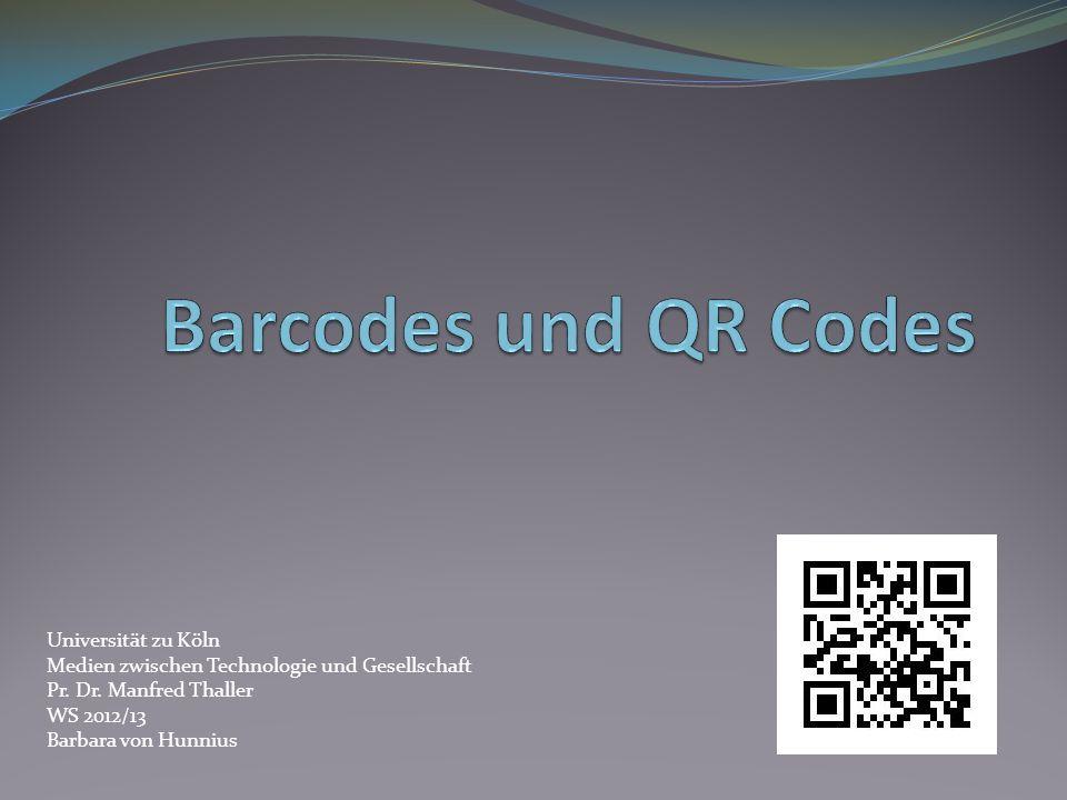 Barcodes und QR Codes Universität zu Köln