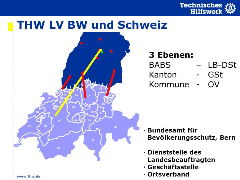THW LV BW und Schweiz 3 Ebenen: BABS – LB-DSt Kanton - GSt
