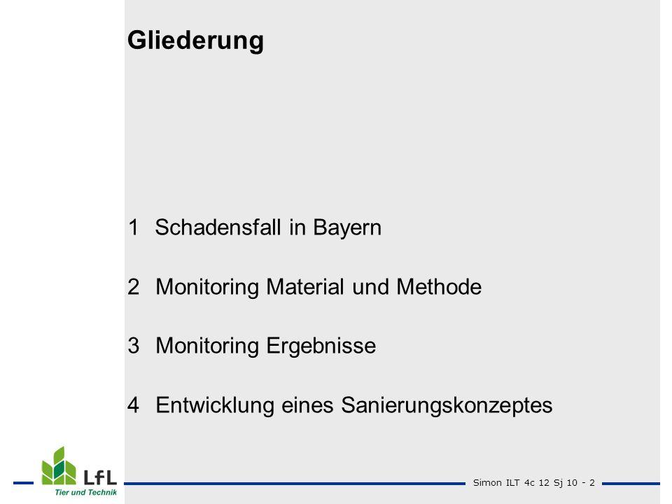 Gliederung 1 Schadensfall in Bayern Monitoring Material und Methode