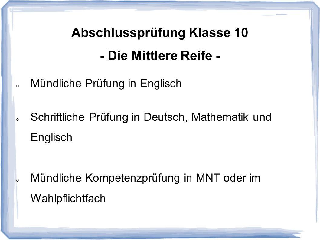 - Die Mittlere Reife - Mündliche Prüfung in Englisch