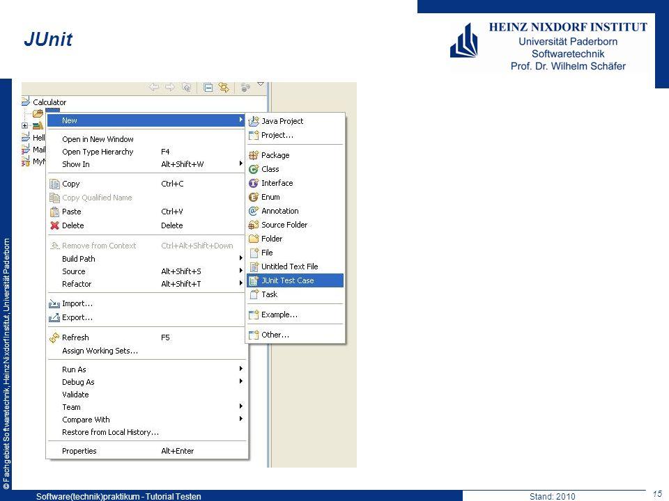 JUnit Software(technik)praktikum - Tutorial Testen Stand: 2010