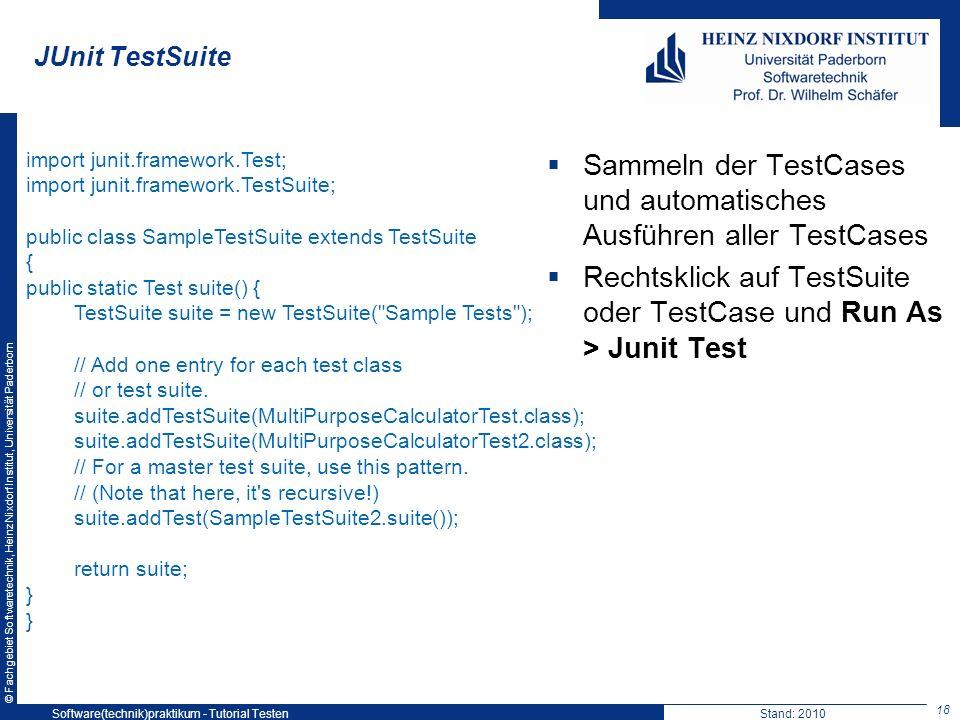 Sammeln der TestCases und automatisches Ausführen aller TestCases