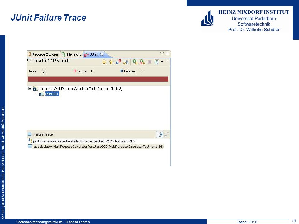 JUnit Failure Trace Software(technik)praktikum - Tutorial Testen
