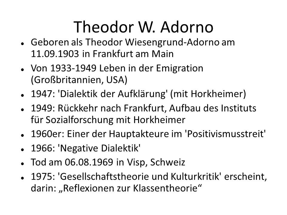 Theodor W. AdornoGeboren als Theodor Wiesengrund-Adorno am 11.09.1903 in Frankfurt am Main.