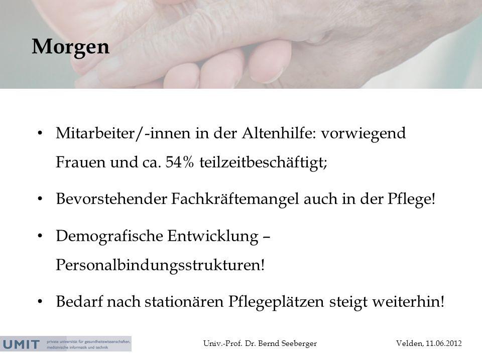Morgen Mitarbeiter/-innen in der Altenhilfe: vorwiegend Frauen und ca. 54% teilzeitbeschäftigt;