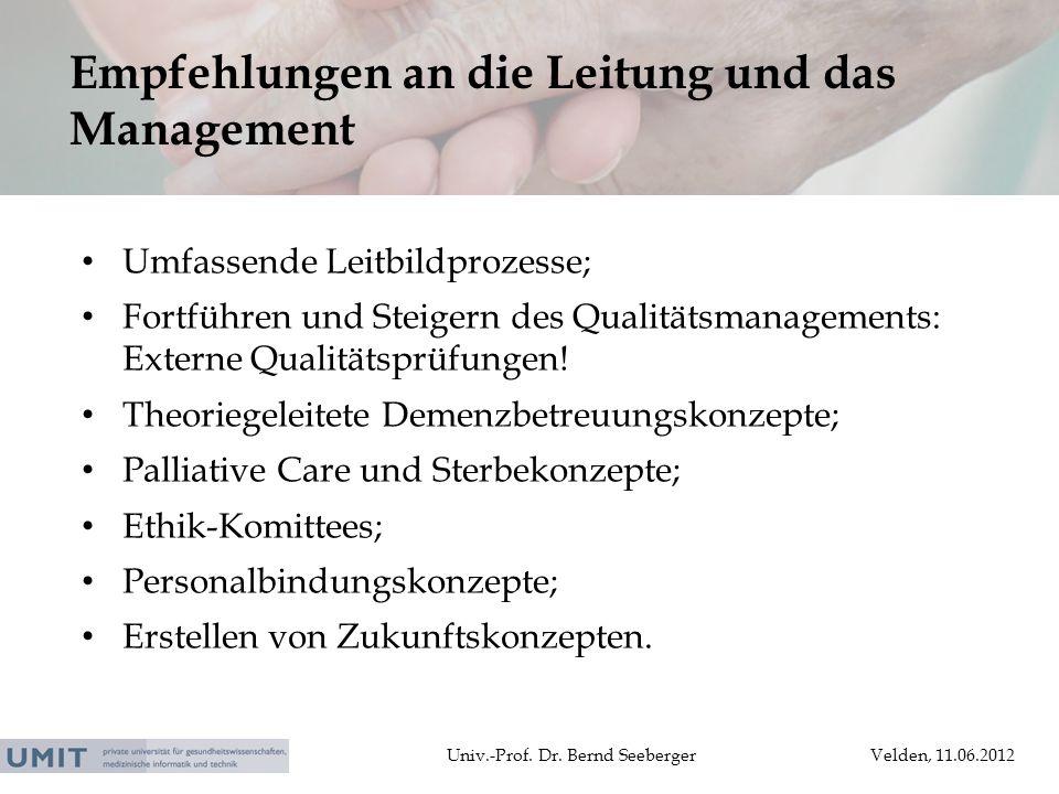 Empfehlungen an die Leitung und das Management
