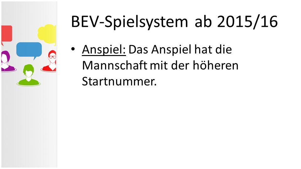 BEV-Spielsystem ab 2015/16 Anspiel: Das Anspiel hat die Mannschaft mit der höheren Startnummer.