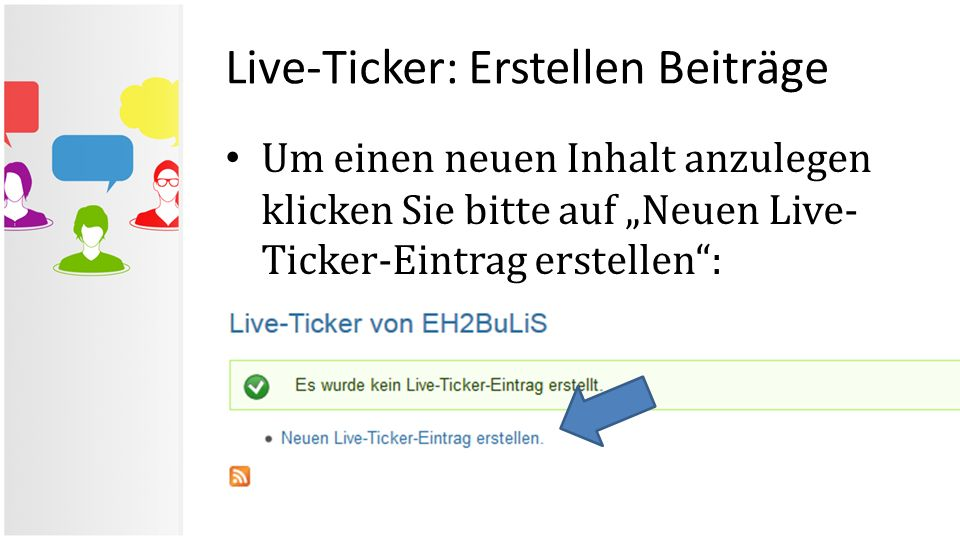 Live-Ticker: Erstellen Beiträge