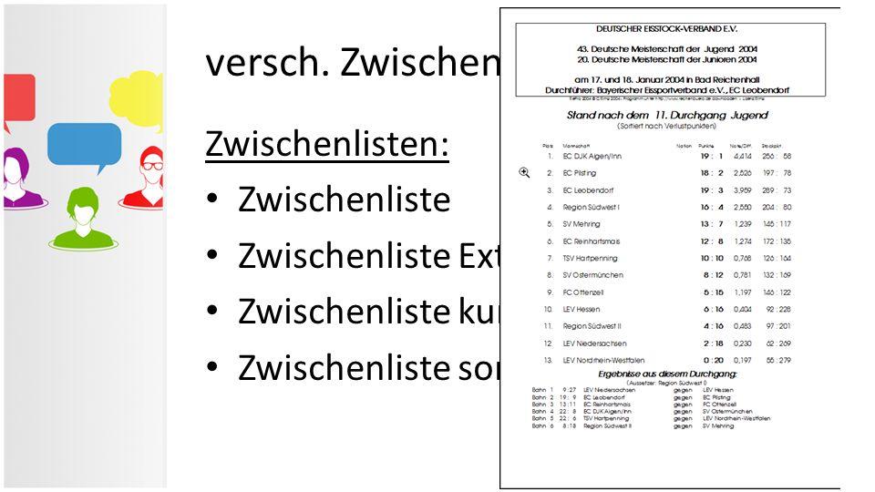 versch. Zwischen- & Ergebnislisten