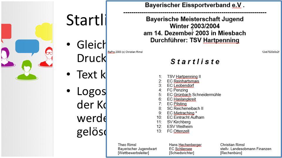 Startliste in Word Gleicher Inhalt wie im RePro-Druckmodul