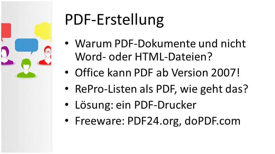 PDF-Erstellung Warum PDF-Dokumente und nicht Word- oder HTML-Dateien
