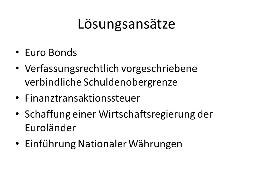 Lösungsansätze Euro Bonds