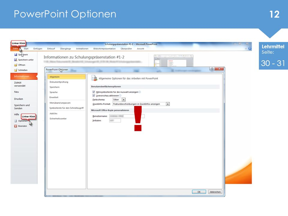 PowerPoint Optionen 30 - 31 !