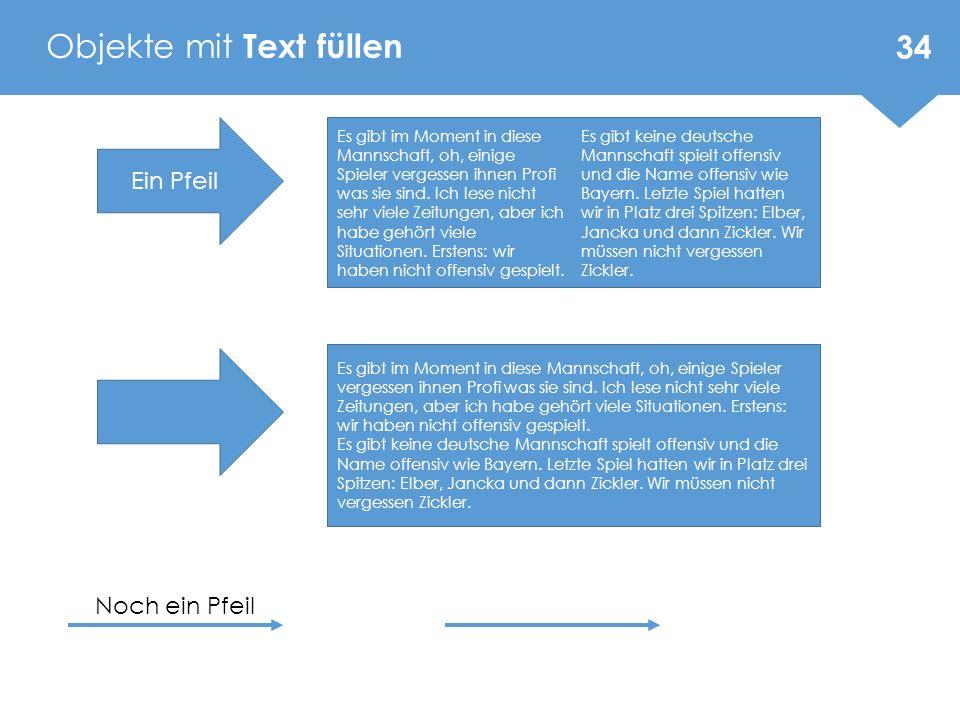Objekte mit Text füllen