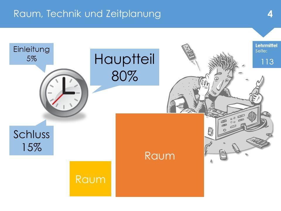 Raum, Technik und Zeitplanung